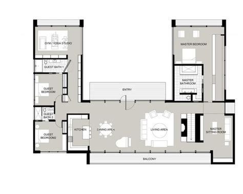 shaped house plans  courtyard  middle modern