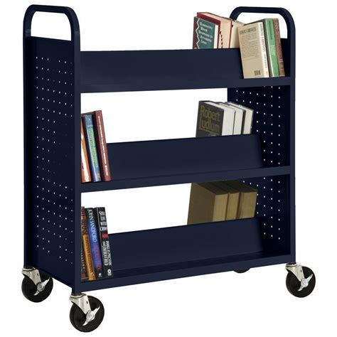Blue Bookcase by Sandusky Radius Edge Blue Mobile Steel Bookcase Bm2r361842