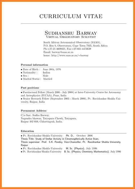 Exemple Format Cv by Curriculum Vitae Sle Format Thesis Danaya Us