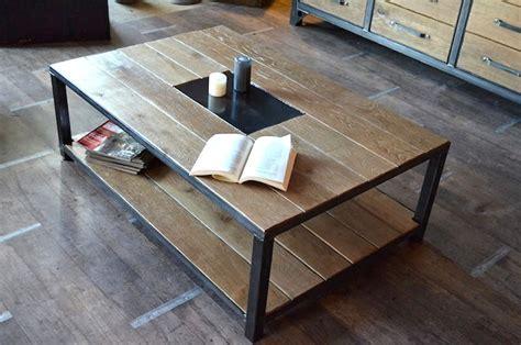 table basse industrielle bois vieilli fabrication 224 la demande et sur mesure cr 233 ation et