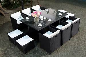 Table De Jardin Tressé : table de jardin 10 places r sine tress e 6 fauteuils 4 poufs miami ~ Teatrodelosmanantiales.com Idées de Décoration