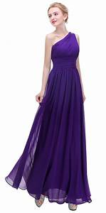 Dark Purple One Shoulder With Beaded Prom Party Evening ...