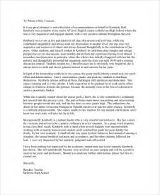 Letter Of Recommendation For Student 13 Download Free