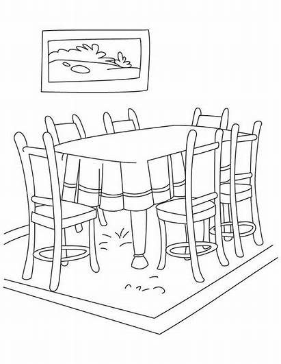 Dining Clipart Coloring Pages Living Clip Clker