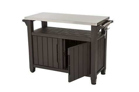 cast iron shelf patio bbq tables with stainless steel top single