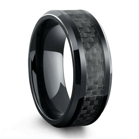 all black titanium ring mens wedding band with carbon fiber inlay northern royal llc