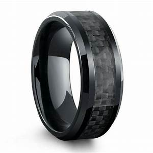 all black titanium ring mens wedding band with carbon With titanium wedding rings