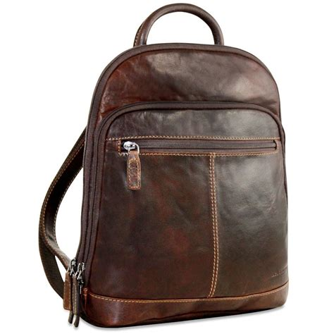 jack georges voyager leather  small backpack