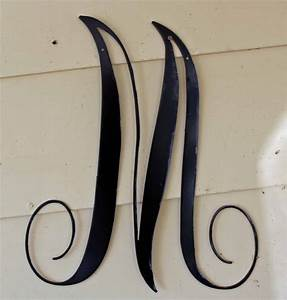 22 inch black script metal letter m door or wall With pre cut metal letters