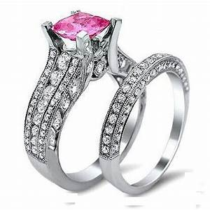 high quality silver micro pave pink big shiny cz With quality cz wedding ring sets