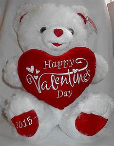 Happy Valentines Day Dated 2015 Cute White Teddy Bear with ...