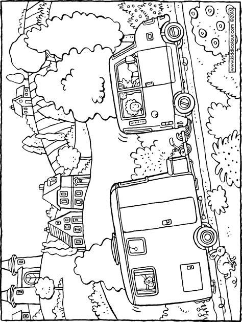 Caravan Kleurplaat by Car With Caravan Kiddicolour