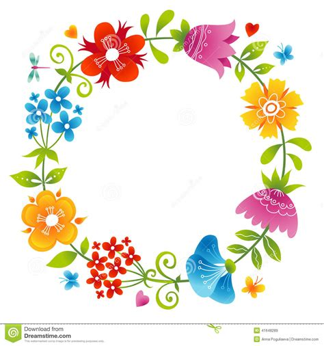 bright wreath  colorful flowers stock vector image