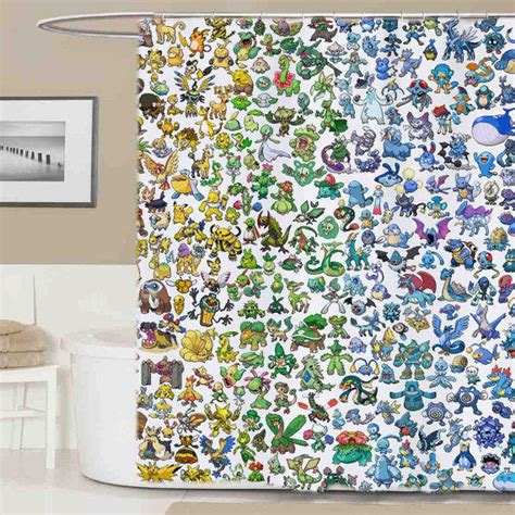 Pokemon All Shower Curtain Curtains From Banyuudan Etsy