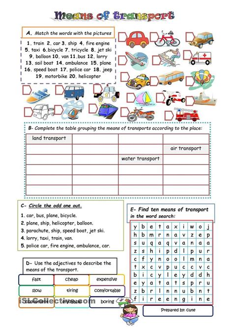 free worksheets on means of transport for grade 1