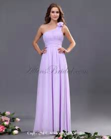 allens bridal chiffon one shoulder floor length column bridesmaid dress with flower - One Shoulder Bridesmaid Dresses