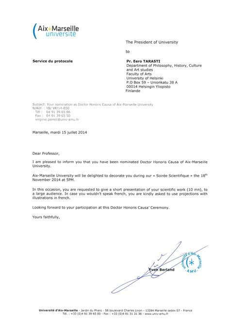 tarasti nomination  doctor honoris causa  aix