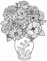 Coloring Flowers Simple Pages sketch template