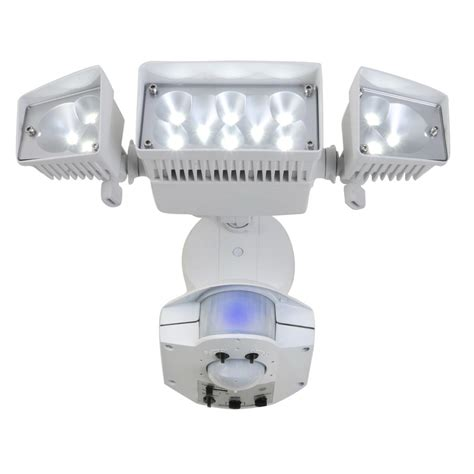led security light lowes shop utilitech 360 degree 3 head dual detection zone white
