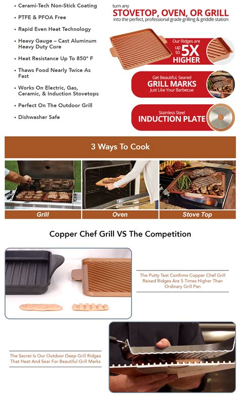set  copper chef grill griddle  stick pan nonstick cookware oven cooking ebay