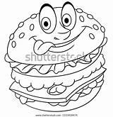 Burger Coloring Hamburger Cheeseburger Vector Cartoon Sign Icon sketch template
