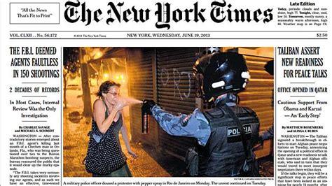 Protestos no Brasil são destaque de capa do NYT   VEJA