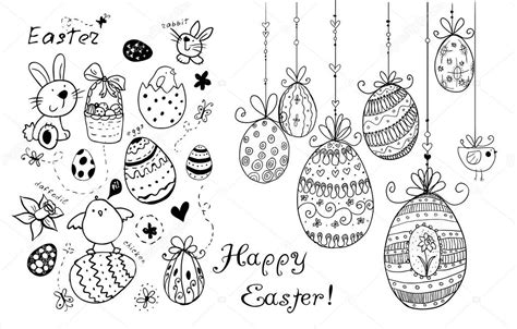 doodle decorative eggs  elements  easter stock
