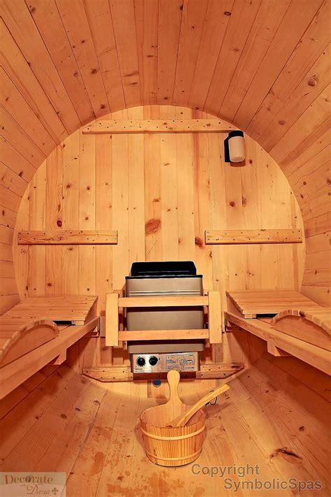 person outdoor  barrel steam sauna kw wet dry heat