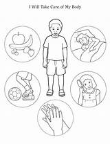 Healthy Living Colouring Preschool Theme Google Bodies Care sketch template
