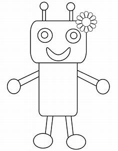 cute robot with flower coloring page free printable With see a robot workout
