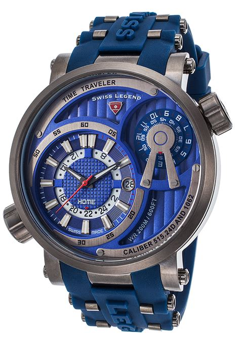 Swiss Legend Time Traveler Multi-Function Blue Silicone ...