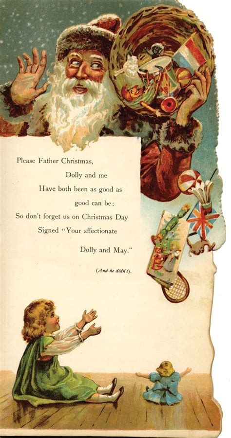 Santa Postcard Giving Toys To From Antique Children S Letter To