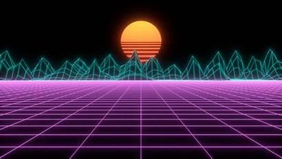 Neon Futuristic Layout 80s Wave Rolling Landscape