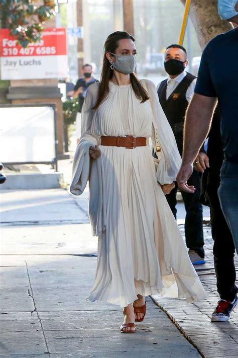 angelina jolie  divine  cream dress   steps