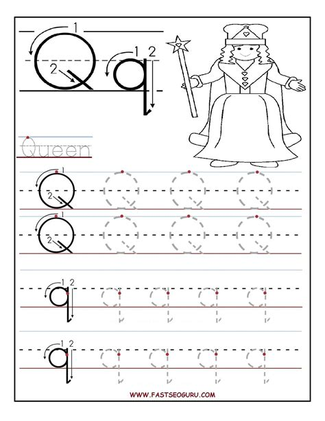 Printable Letter Q Tracing Worksheets For Preschool  Word Work  Pinterest Preschool