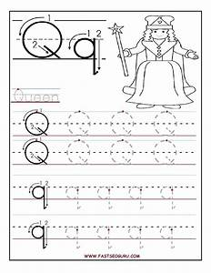 printable letter q tracing worksheets for preschool word With traceable letters for crafts
