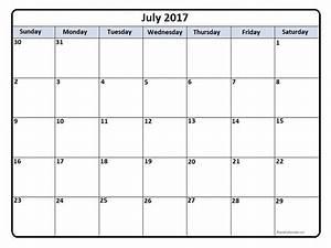 July 2017 calendar | July 2017 calendar printable
