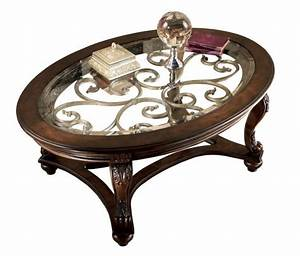 norcastle traditional dark brown wood glass oval coffee With glass and wood oval coffee table