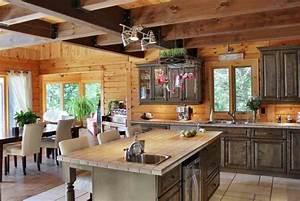 transformer cuisine rustique cuisine moderne le bois With idee deco cuisine avec cuisine rustique