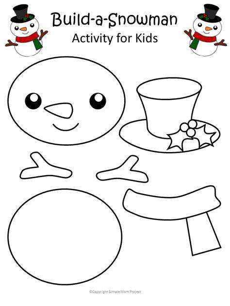 printable christmas snowman craft   template