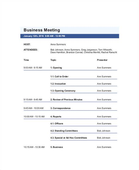 agenda templates examples    examples