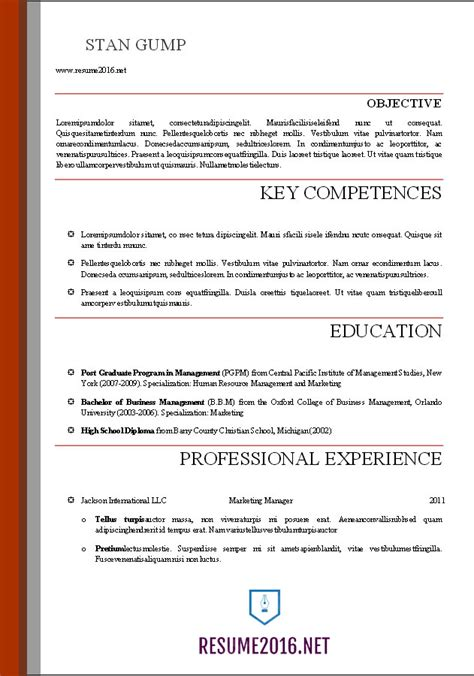 Template Professional Resume by Word Resume Templates 2016