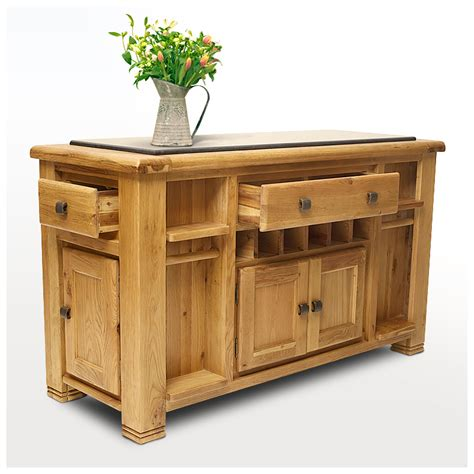 50% Off Oak Kitchen Island With Black Granite Top  Danube