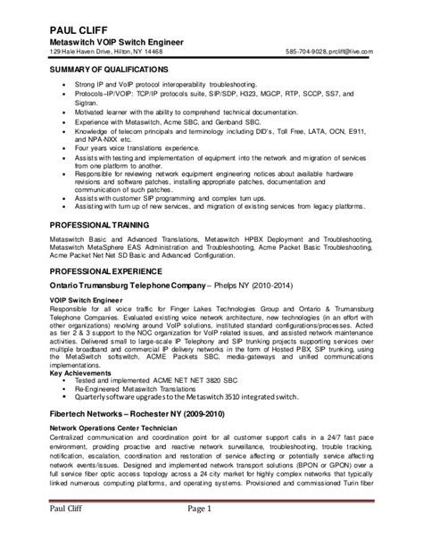 Voip Test Engineer Resume by Voip Testing Resume
