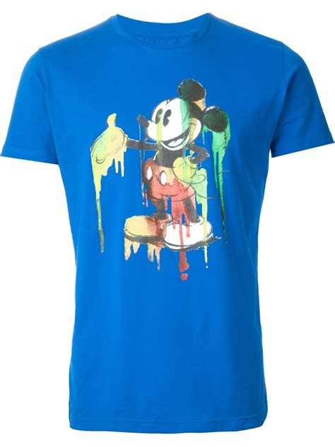 iceberg mickey mouse print t shirt in blue for lyst