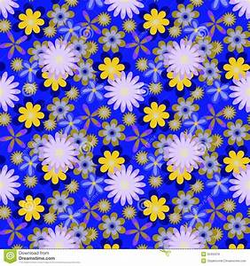 Seamless Yellow Flowers On Bright Blue Background Royalty ...