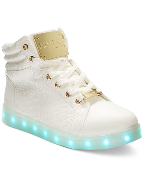 high top light up shoes bebe sport keene light up high top sneakers in white lyst