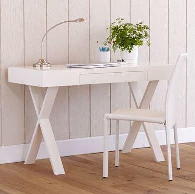 glossy white sawhorse desk