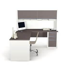 bestar connexion l shape wood computer desk with hutch in