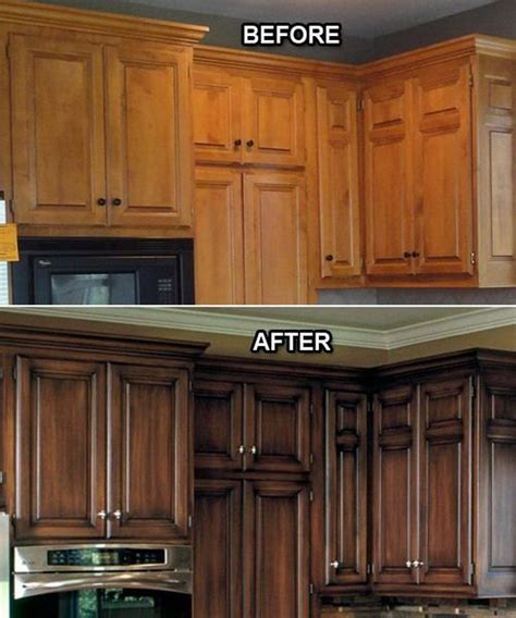 Restaining Kitchen Cabinets Before And After by 17 Best Ideas About Brown Painted Cabinets On